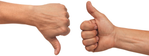Thumbs up vs thumbs down deals