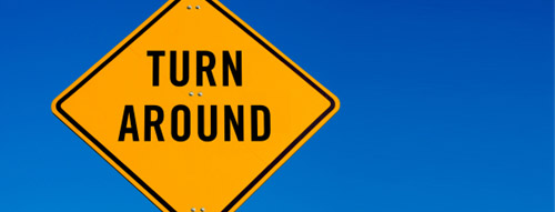 The sign says turn around